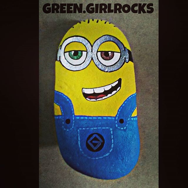 This guy stands about 9 inches and i love that This rock has a flat bottom....hehehe Bottom! #greengirlrocks #picoftheday #artoftheday #paintedstones #paintedrocks #rockart #stoned #minion #outdoors #garden #artist