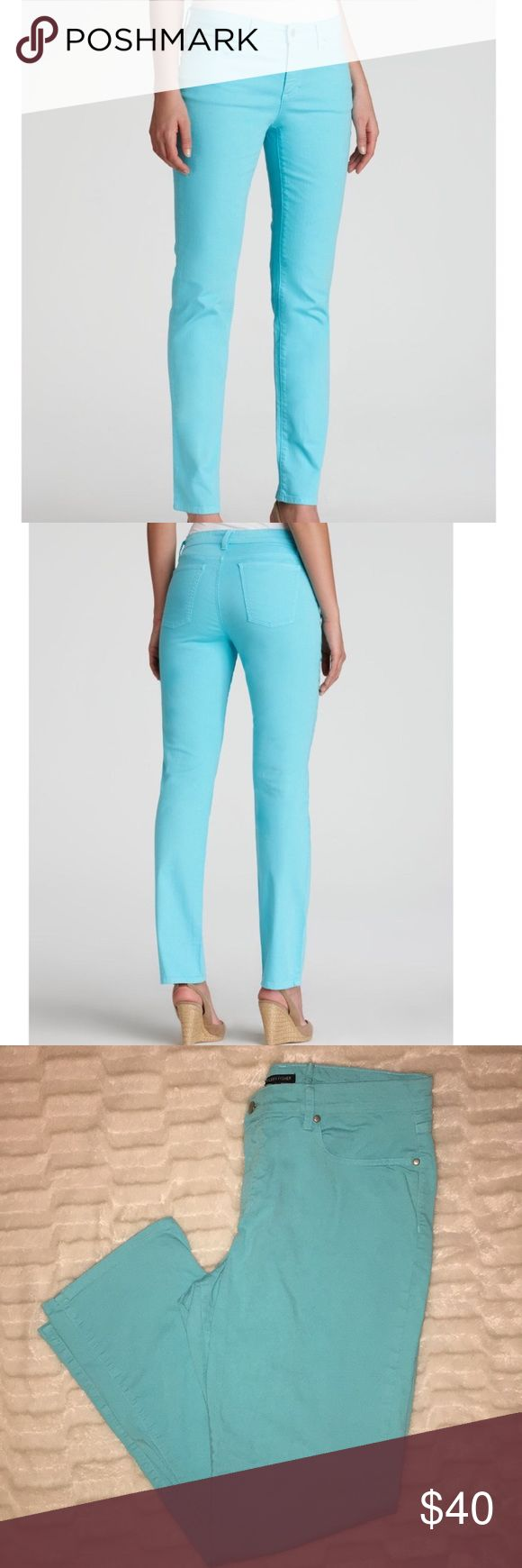 Eileen Fisher organic cotton deep aqua jeans 16 These have been taken in at the back of the waist with 2, 1/2 inch stitches . The stitch CAN be taken out if you need it to be. High quality high end jeans in a pretty unique color!! Eileen Fisher Jeans