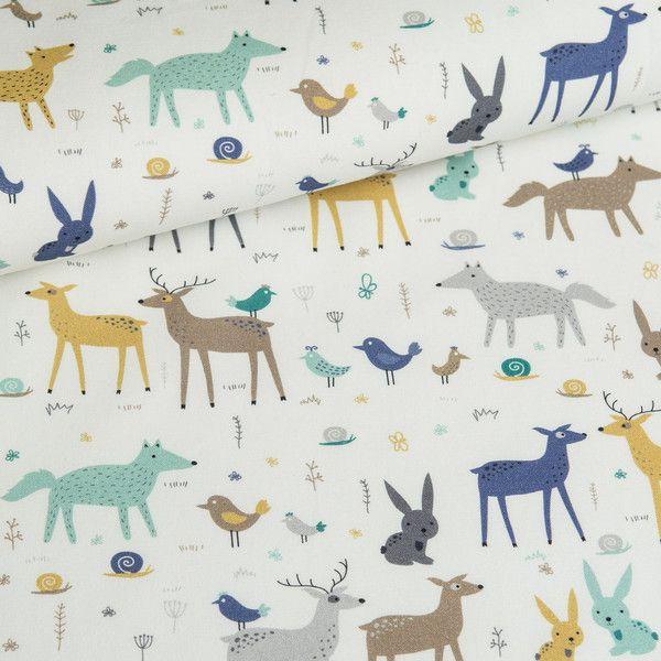 Bawełna 100% Leśne zwierzęta w dzień - mcolors - Tkaniny dla dzieci