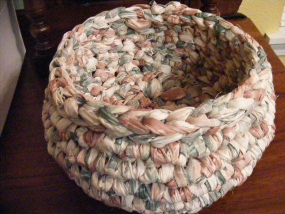 Crocheted Basket Crocheted Cloth Basket Rag by crochetedfancies