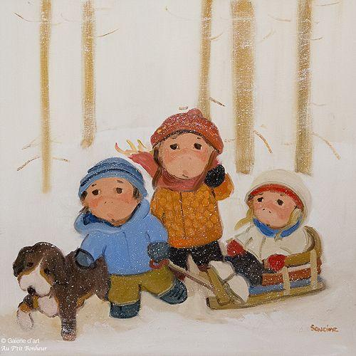 Guylène Saucier, 'Dans le blizzard', 24'' x 24'' | Galerie d'art - Au P'tit Bonheur - Art Gallery