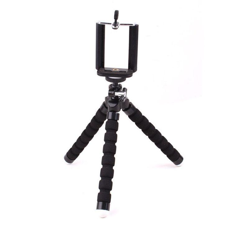 Universal Compact Tripod Stand Flexible Octopus Cell Phone Camera Selfie Stick Tripod Mount for Smartphone / Digital Camera - BLACK