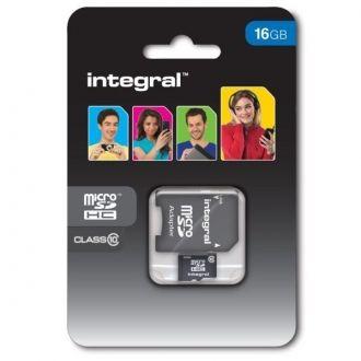 INTEGRAL Karta pamięci 16 GB microSDHC Class 10 + adapter Karta pamięci microSDHC marki Integral, klasy 10 o pojemności 16 GB. Idealna do zastosowania w urządzeniach mobilnych do przechowywania muzyki, zdjęć, filmów, aplikacji i gier. Karta klasy 10 doskonale sprawdzi się również w najnowszych aparatach czy kamerach szybko zapisując obrazy nawet w bardzo wysokich rozdzielczościach