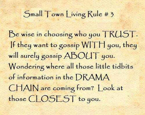 Small Town Living Rule #3. Funny Inspirational QuotesTrue ...