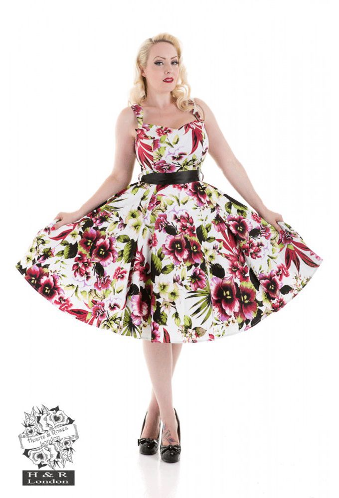 Hearts and Roses London - Tropical Lily Dress In Red By Hearts & Roses