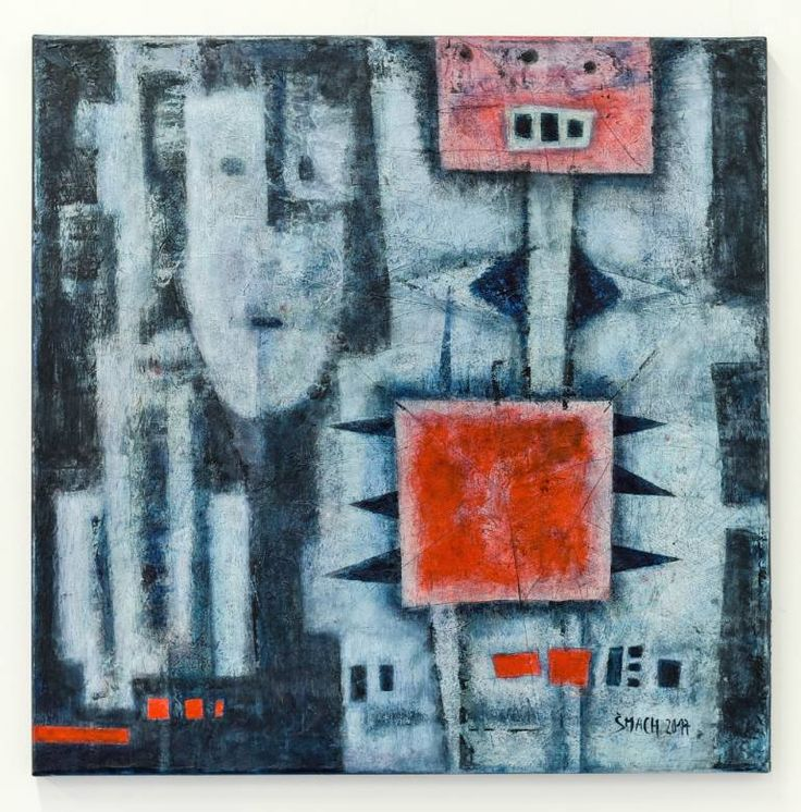 Buy VB531, a Acrylic on Canvas by Radek Smach from Czech Republic. It portrays: Technology, relevant to: red, robot, blue, square, structure, technical, abstract Original abstract painting on canvas. Mixed media.  Ready to hang. No framing required (it can be framed). The sides of the painting are painted.
