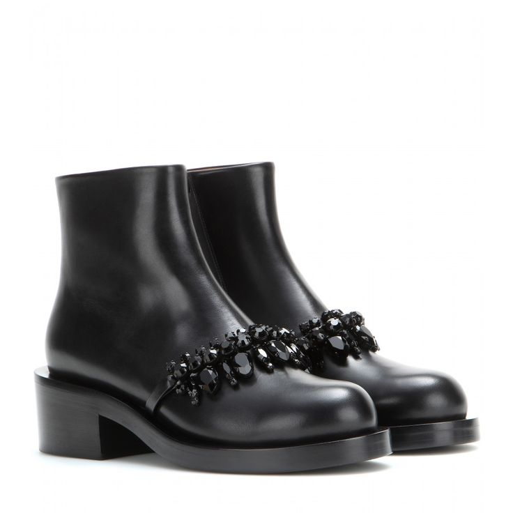 Givenchy embellished black leather ankle boots