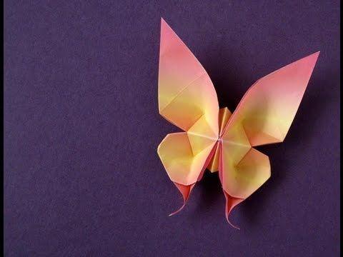 """• Tutorial to fold an Origami swallowtail Butterfly, created by Evi Binzinger (Germany).   • Demonstración del proceso de plegar una mariposa """"cola de golondrina"""" crada por Evi Binzinger."""
