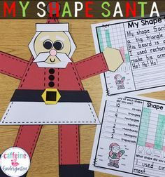 This shape Santa is a super cute and fun way to provide a tactile experience with 2D shapes for your students. Included are 2 versions of data collection to promote further thinking about shapes! Also includes graphing and writing activities.