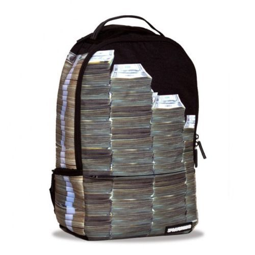 Sprayground Money Stacks Deluxe Book Bag Backpack Streetwear Black Fast Shipping