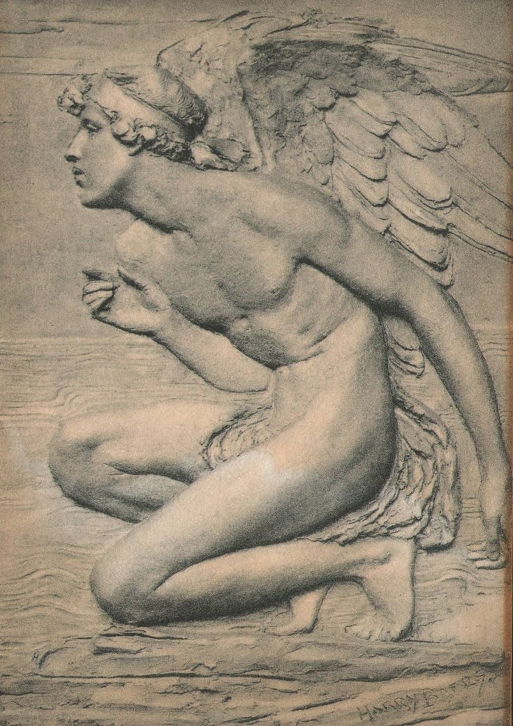 Photograph by Hollyer of Cupid (From the Psyche and Cupid triptych by Harry Bates)