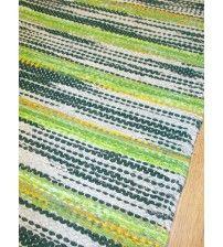 Vászon rongyszőnyeg zöld 75 x 170 cm