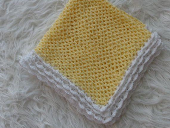 Newborn Blanket.Crochet  Blanket .Color Yellow . by knitsdwarfs, $45.00