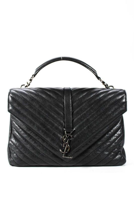d43e1097ae Saint Laurent Women's Leather College Satchel Shoulder Handbag Black Medium