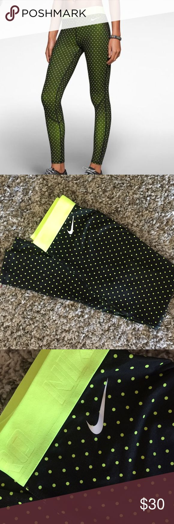 Nike pro hyperwarm polka dot tights leggings Women's Nike Pro hyperwarm dri-fit polka dot leggings/tights. Size small. Only worn a few times. No tags. Color is neon yellowish-green (like a tennis ball) and black. Nike Pants Leggings