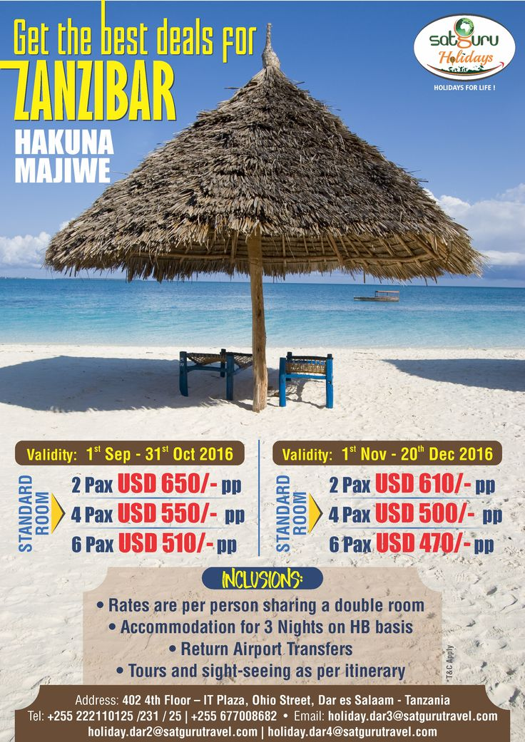 Get the best deals for Zanzibar holiday package.