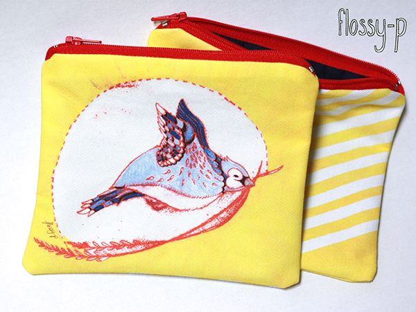 I've made my 'Buttercup Bluejay' mono print into a purse.  #purse #handmade #iphonecase #bluejay #blue #yellow #bird #monoprint #flossyp #flossy-p