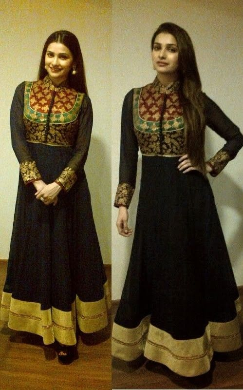 Bollywood Replica - Prachi Desai Blue and Red Georgette Maharani Neckline Anarkali Suit - S113