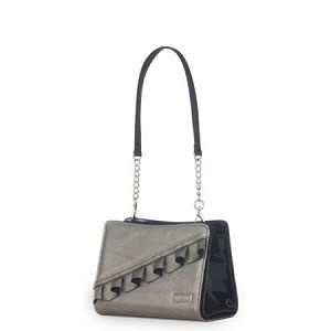 Cindy Miche Shell -- A silver faux leather shell for Miche petite bags. A flair of ruffle runs along the front of the bag in a diagonal line. Adorable and fun metallic color gives this bag a dressy attitude. #artisthandbags