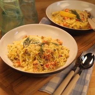 Kräft/lax pasta med dill och citron -