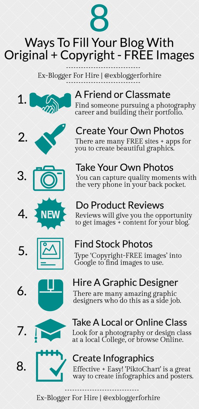 8 • Ways To Fill Your Blog With Original And Copyright – FREE Photos [ INFOGRAPHIC ] #Infographic #CopyrightFree #DigitalArt #Photo #Tips #Photography #Blog
