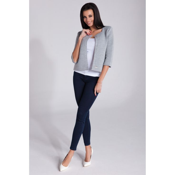 Sacou gri dama tricotat chic  #sacouricasual #officestyle