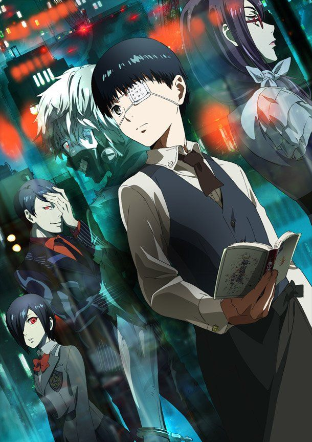 Tokyo Ghoul season 1 and 2.The story of Tokyo Ghoul follows Ken Kaneki, who barely survives a deadly encounter with Rize Kamishiro, a woman who reveals herself as a ghoul, a human-like creature that hunts and devours human flesh, and is taken to the hospital in critical condition. After recovering, Kaneki discovers that somehow he underwent a surgery that transformed him into a half-ghoul, and just like them, must consume human flesh to survive as well.