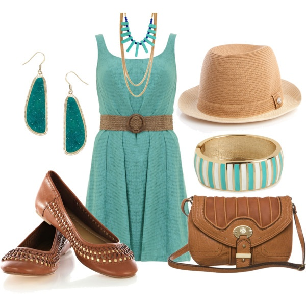"""Aqua dress outfit"" by esperanzandrea on Polyvore"