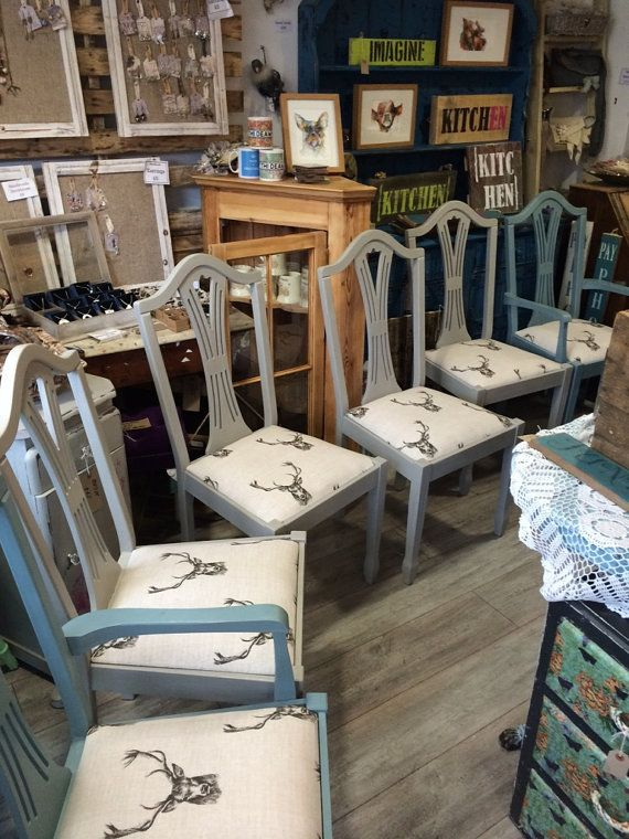 Painted Distressed Chairs  Stag Fabric  Upcycled  Dining Chairs  Kitchen  Chairs. 17 best ideas about Distressed Chair on Pinterest   Antique chairs