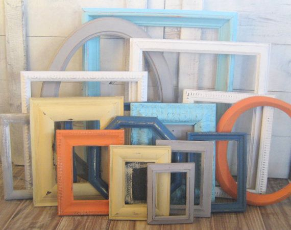 gallery wall frame set boys nursery decor white navy orange gray - White Picture Frame Set