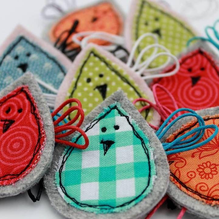 Honeypips Fabric Birdie Brooch cute gifts