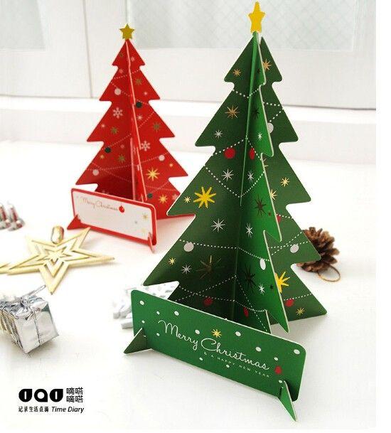 Merry Christmas 3D Дерево Открытки Открытки Подарок На День Рождения Карты Набор Карт Сообщение Набор Благодарения Карты купить на AliExpress