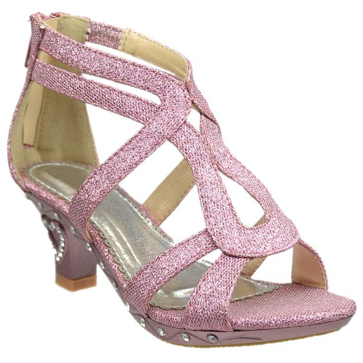 Kids Dress Sandals Glitter Cutout Heart High Heel Pageant Shoes Pink