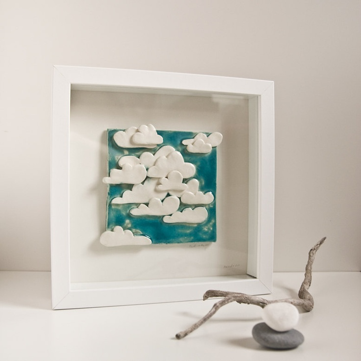 Clouds in the Sky ceramic tile decorative wall art for by karoArt, €66,00