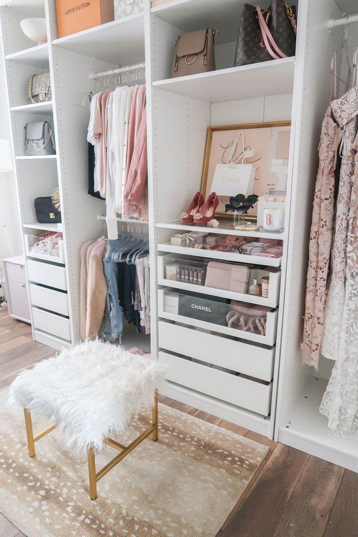Cloffice Tour   Closet Office   Walk-In Closet   Custom White and Glass Closet  …