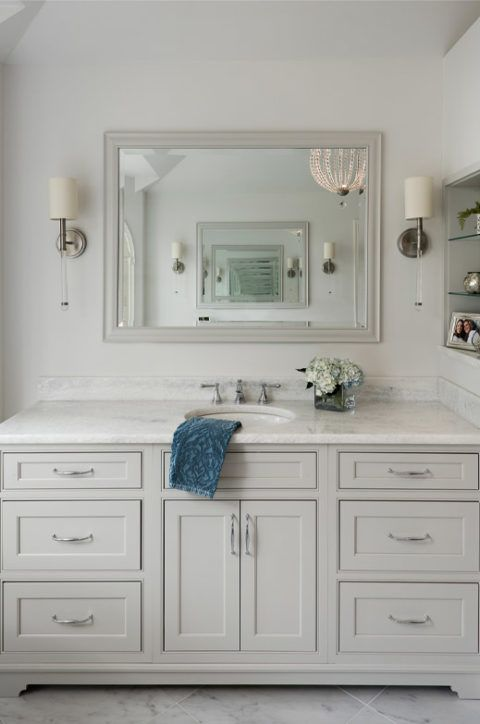 Light Gray Vanity With Shaker Style Cabinets Lucite