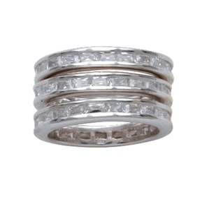 With three separate bands, this silver and crystal channel ring gives you total variety for dressing up a look, whether you wear one band, two or all three together, spit among several fingers, worn loose on a chain around your neck, or shared with a friend or loved one. Made of .925 Sterling Silver with Rhodium Plate and Cubic Zirconia Stones: Montana Silversmithing, Totally Variety, Channel Rings, Silver Channel, Crystals Channel, Three Separates, Channel Triple, Stacking Rings, Separates Bands