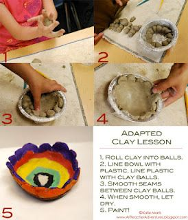 Adapted clay lesson for children with special needs from Adventures of an Art Teacher