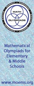 """Our ad in the newsletter for the National Association for Gifted Children, """"Compass Points.""""  It flashes,""""Challenging math problems foster creativity, stimulate enthusiasm, and strengthen intuition. Use our innovative contest programs."""""""