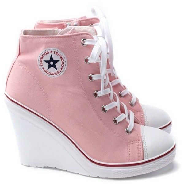 EpicStep Women's Pink Canvas High Top Wedges High Heels Casual Fashion... ❤ liked on Polyvore featuring shoes, sneakers, wedges shoes, canvas sneakers, canvas hi tops, high heel shoes and wedge heel sneakers