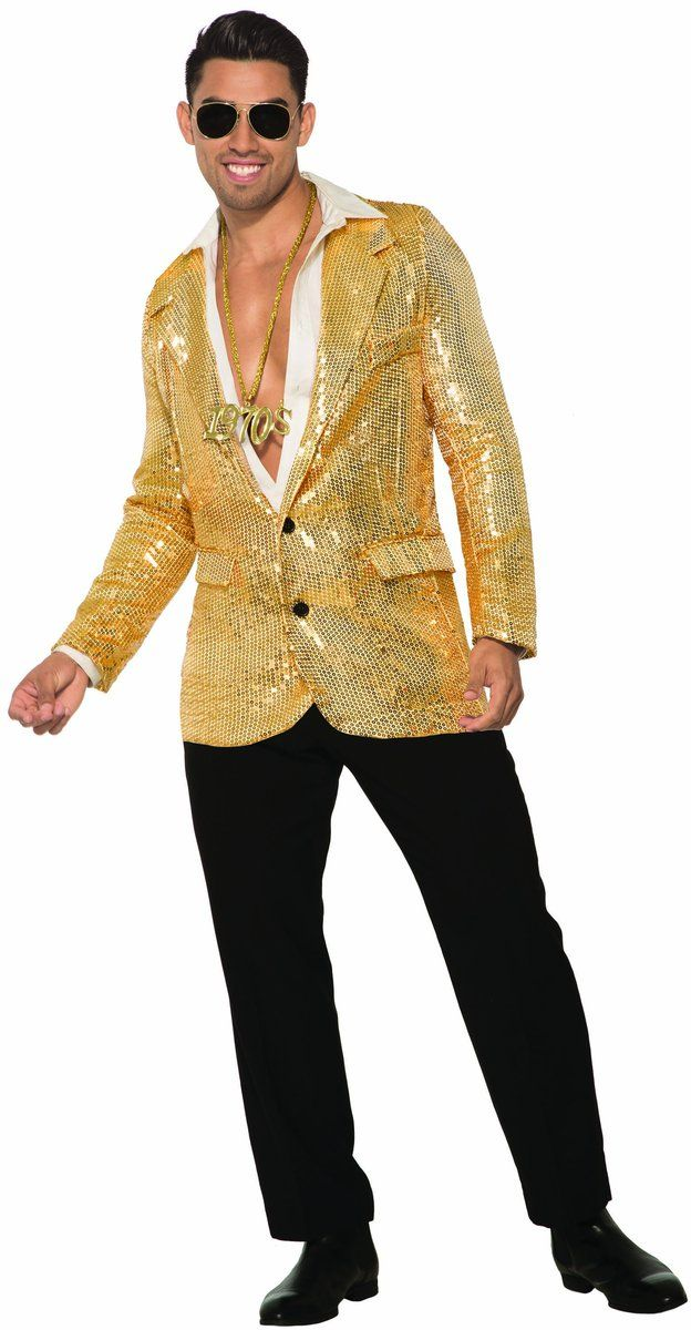 7faad2c2 Adult Mens 70s Disco Gold Sequin Blazer Jacket Halloween Costume Accessory  #HalloweenCostumeAccessories #NoveltiesForParties