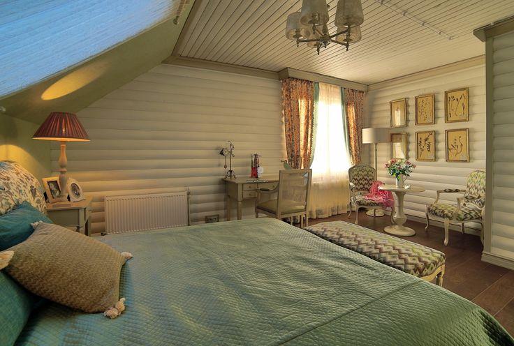 Фото интерьера спальни небольшого дома в стиле кантри