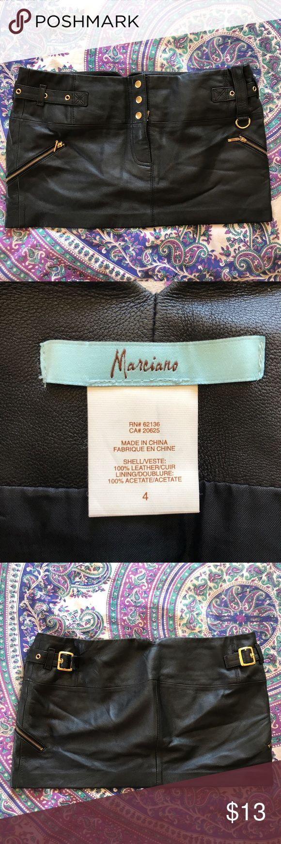 """Guess Marciano - Genuine Leather Mini Skirt - 4 Super sexy genuine leather hardware mini skirt in size 4. I've never worn it I got it as a present from an ex and it's been sitting in my closet ever since. 10.5"""" length. Marciano Skirts Mini"""