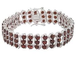 Vermelho Garnet(Tm) 31.68ctw Round Sterling Silver S Bar Style Bracelet Eav $375.00