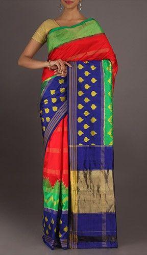 Mala Feast Of Colors Newfangled Ikat Pochampally Silk Saree