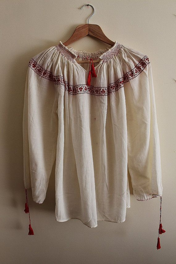 romanian red embroidered blouse