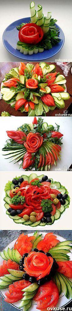 Красивая подача овощных нарезок | Банк кулинарных рецептов