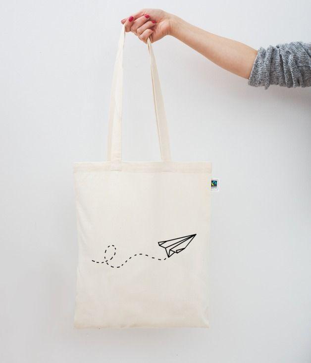 Jutebeutel Papierflieger // tote bag paper plane by Eulenschnitt via DaWanda.com