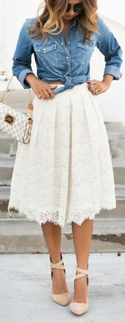 Chambray + Lace ❤︎                                                                                                                                                     More - cheap summer dresses, pastel dresses for juniors, white party dresses *sponsored https://www.pinterest.com/dresses_dress/ https://www.pinterest.com/explore/dresses/ https://www.pinterest.com/dresses_dress/bridesmaid-dresses/ https://www.lulus.com/categories/13/dresses.html