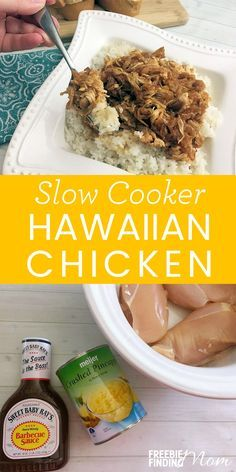 Need a quick, easy and delicious slow cooker meal idea? This healthy Slow Cooker Hawaiian Chicken recipe requires only three ingredients and can be whipped up in minutes. This Crockpot Hawaiian chicken can be served over rice or as sliders on little Hawaiian buns. This chicken breast recipe is perfect for family dinners, parties, game day, tailgating and anytime you are looking for an easy and delicious meal.